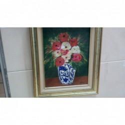 Dipinto Olio Su Tavola Vaso...